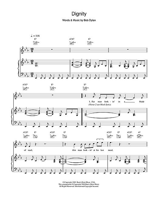 Bob Dylan Dignity sheet music notes and chords