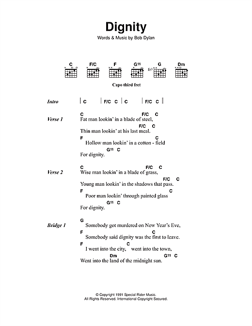 Bob Dylan Dignity sheet music notes and chords