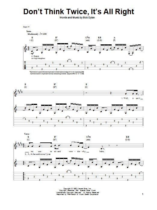 Download Bob Dylan 'Don't Think Twice, It's All Right' Digital Sheet Music Notes & Chords and start playing in minutes