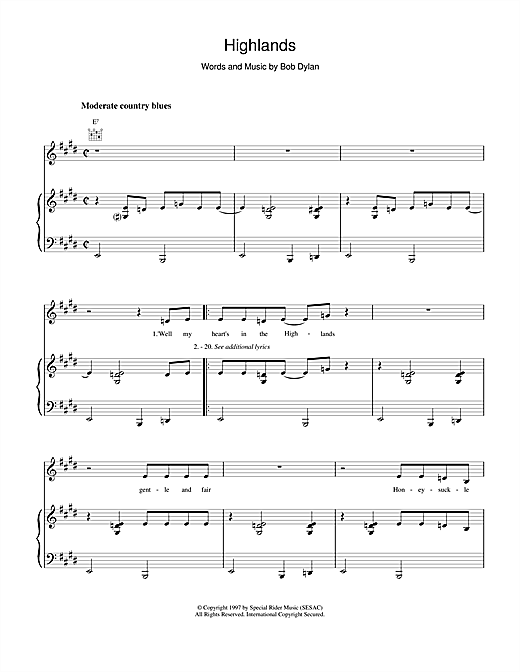 Bob Dylan Highlands sheet music notes and chords