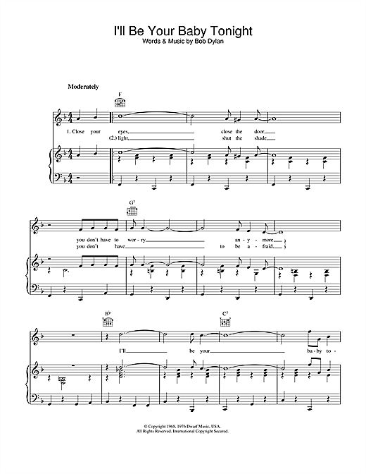 Download Bob Dylan 'I'll Be Your Baby Tonight' Digital Sheet Music Notes & Chords and start playing in minutes
