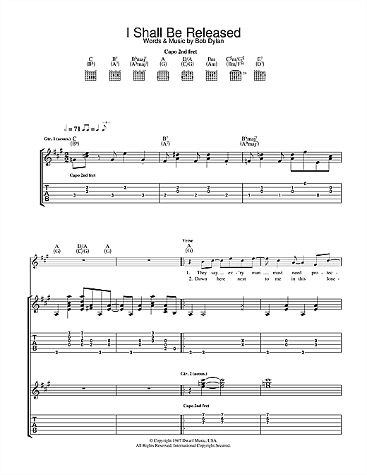Download Bob Dylan 'I Shall Be Released' Digital Sheet Music Notes & Chords and start playing in minutes