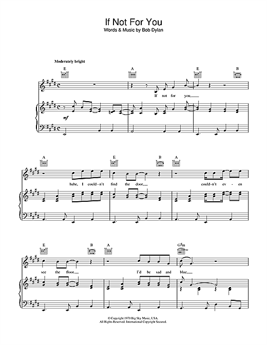 Download Bob Dylan 'If Not For You' Digital Sheet Music Notes & Chords and start playing in minutes