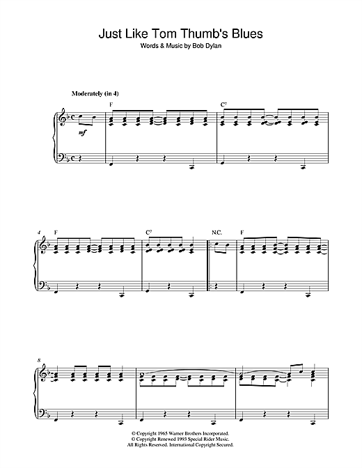 Download Bob Dylan 'Just Like Tom Thumb's Blues' Digital Sheet Music Notes & Chords and start playing in minutes