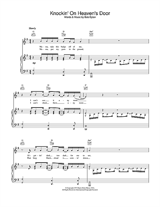 Bob Dylan Knockin' On Heaven's Door sheet music notes and chords