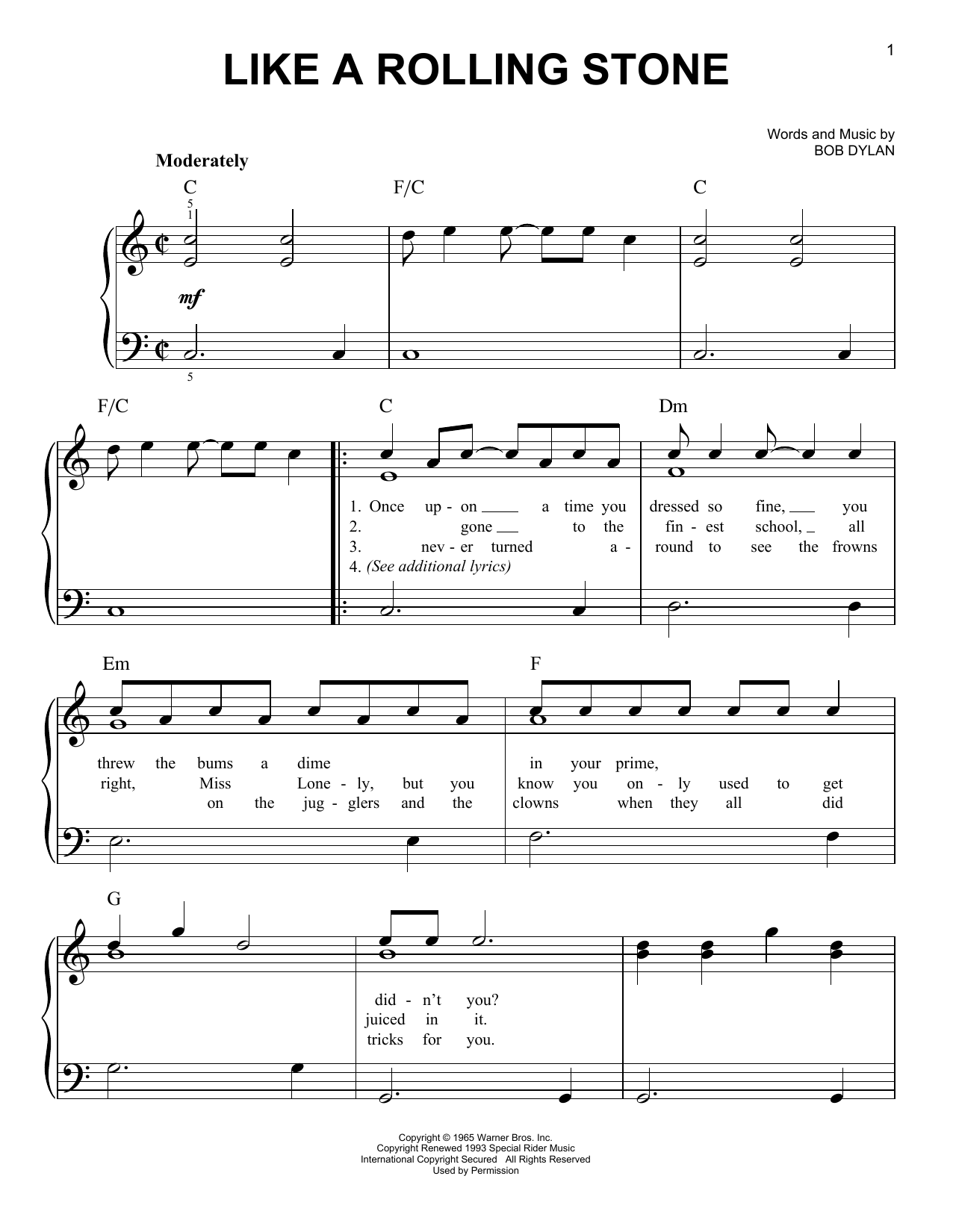 Download Bob Dylan 'Like A Rolling Stone' Digital Sheet Music Notes & Chords and start playing in minutes