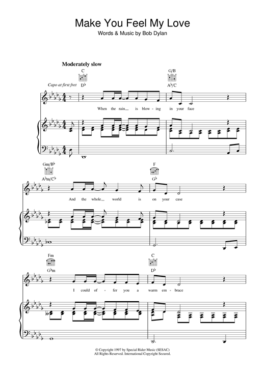 Download Bob Dylan 'Make You Feel My Love' Digital Sheet Music Notes & Chords and start playing in minutes