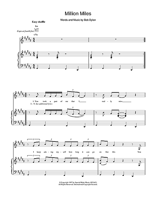 Bob Dylan Million Miles sheet music notes and chords