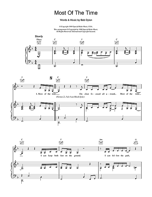 Bob Dylan Most Of The Time (from High Fidelity) sheet music notes and chords