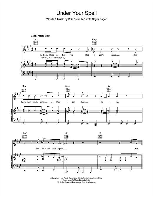 Bob Dylan Under Your Spell sheet music notes and chords