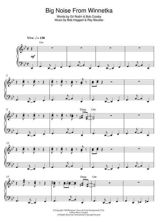Download Bob Haggart 'Big Noise From Winnetka' Digital Sheet Music Notes & Chords and start playing in minutes