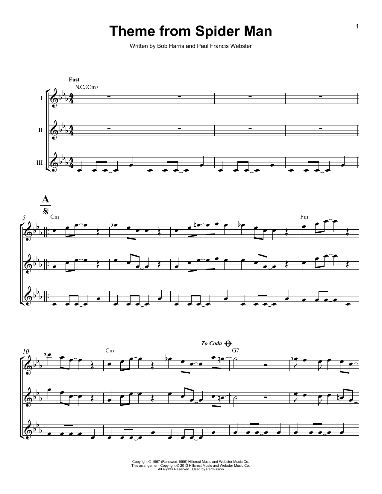 Download Bob Harris 'Theme From Spider Man' Digital Sheet Music Notes & Chords and start playing in minutes