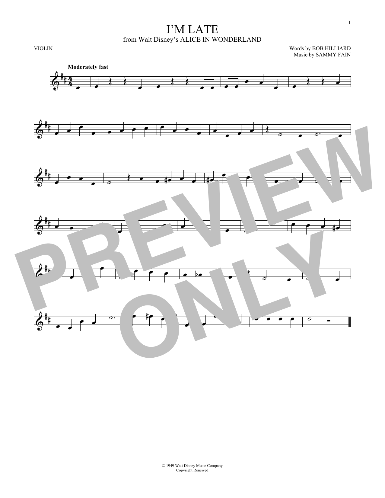 Download Bob Hilliard 'I'm Late' Digital Sheet Music Notes & Chords and start playing in minutes
