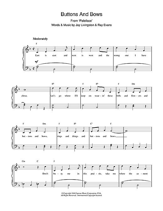 Download Bob Hope 'Buttons And Bows (from The Paleface)' Digital Sheet Music Notes & Chords and start playing in minutes