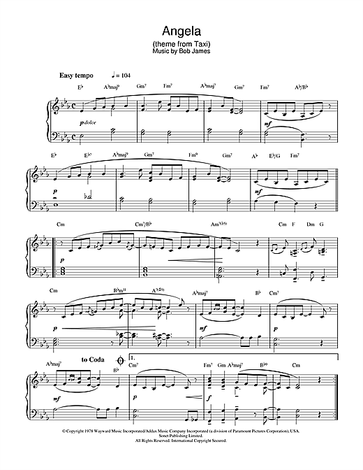 Download Bob James 'Angela (theme from Taxi)' Digital Sheet Music Notes & Chords and start playing in minutes