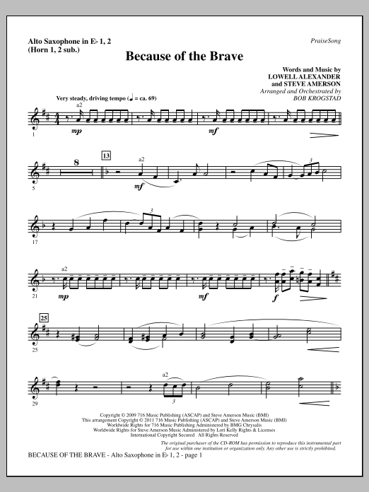 Download Bob Krogstad 'Because Of The Brave - Alto Sax 1-2 (sub. Horn 1-2)' Digital Sheet Music Notes & Chords and start playing in minutes