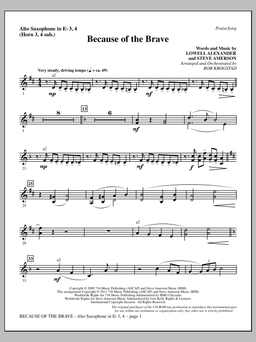 Download Bob Krogstad 'Because Of The Brave - Alto Sax 3-4 (sub. Horn 3-4)' Digital Sheet Music Notes & Chords and start playing in minutes