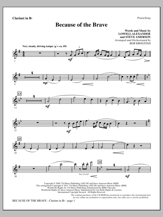 Download Bob Krogstad 'Because Of The Brave - Clarinet' Digital Sheet Music Notes & Chords and start playing in minutes