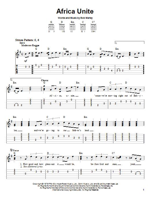 Bob Marley Africa Unite sheet music notes and chords