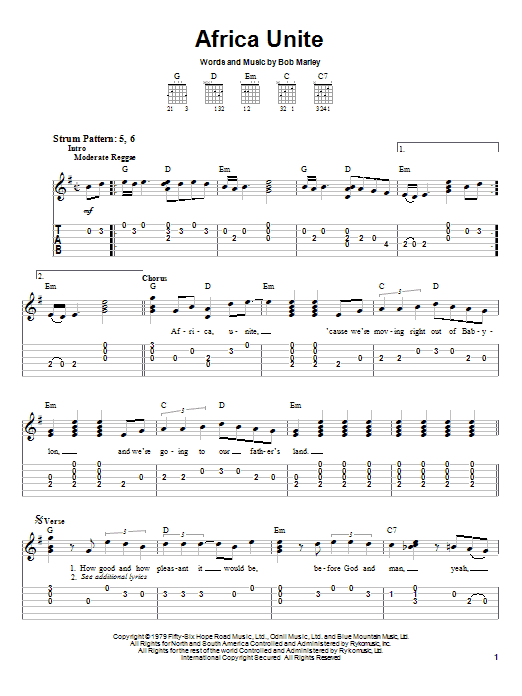 Bob Marley Africa Unite sheet music preview music notes and score for Easy Guitar Tab including 3 page(s)