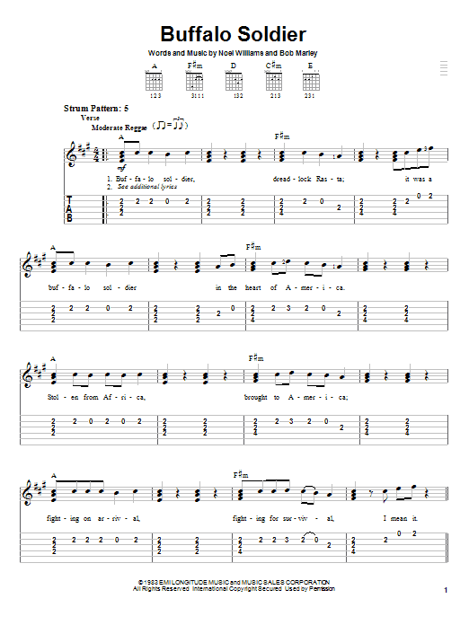 Bob Marley Buffalo Soldier sheet music notes and chords