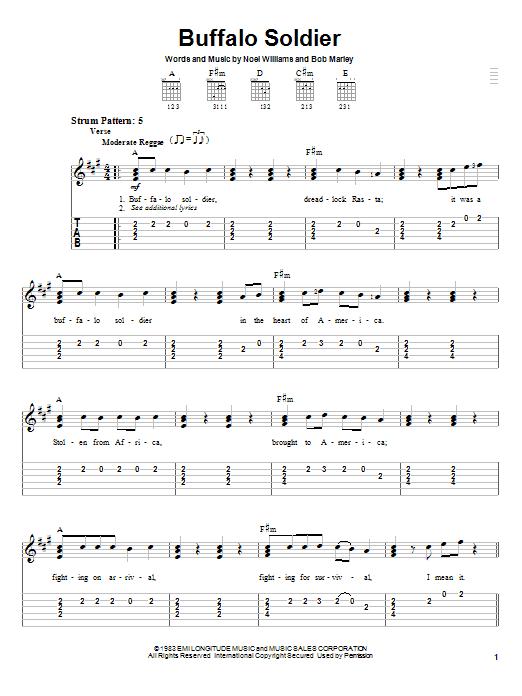 Bob Marley Buffalo Soldier sheet music notes and chords