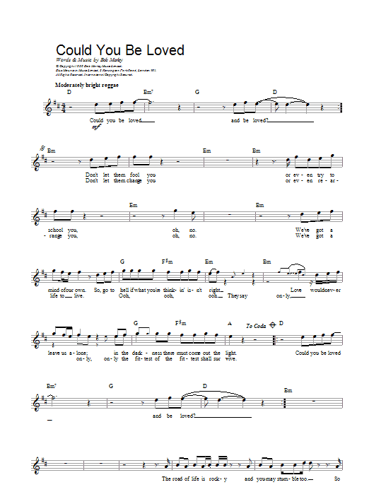 Bob Marley Could You Be Loved sheet music preview music notes and score for Guitar Tab including 11 page(s)