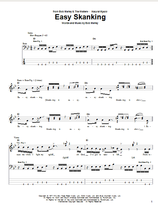 Bob Marley Easy Skanking sheet music preview music notes and score for Bass Guitar Tab including 5 page(s)