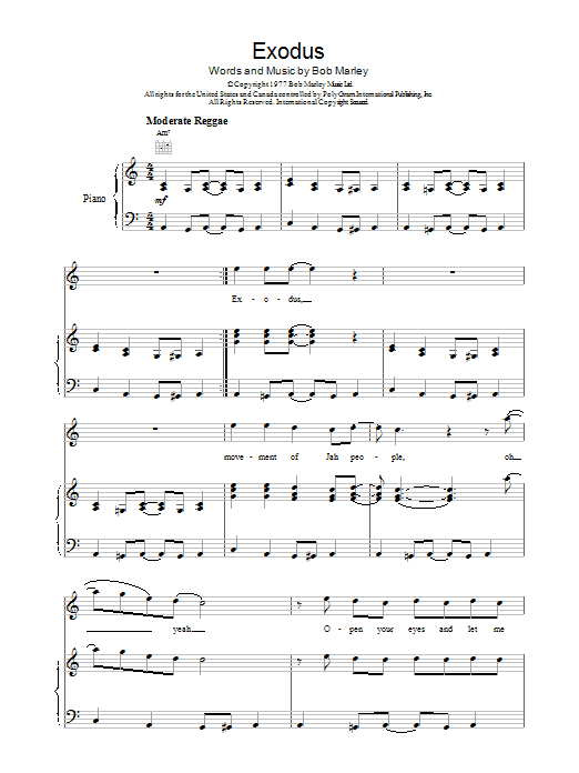 Bob Marley Exodus sheet music preview music notes and score for Bass Guitar Tab including 10 page(s)