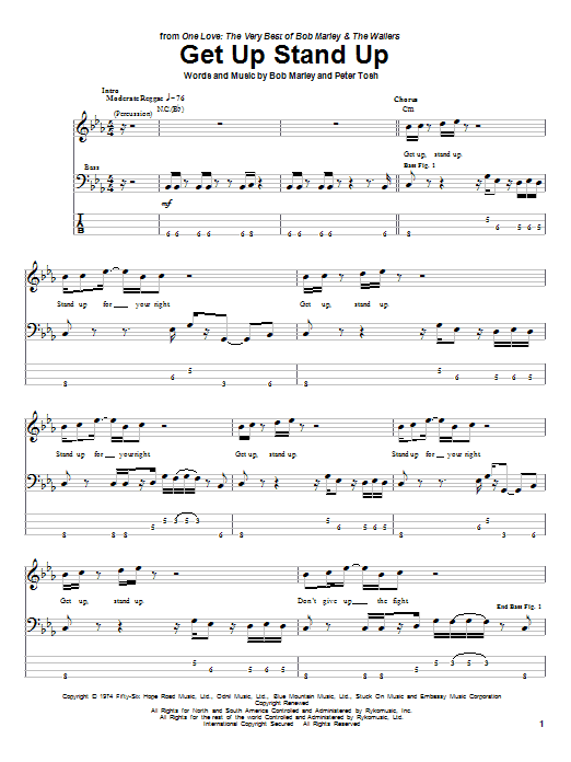 Download Bob Marley 'Get Up, Stand Up' Digital Sheet Music Notes & Chords and start playing in minutes