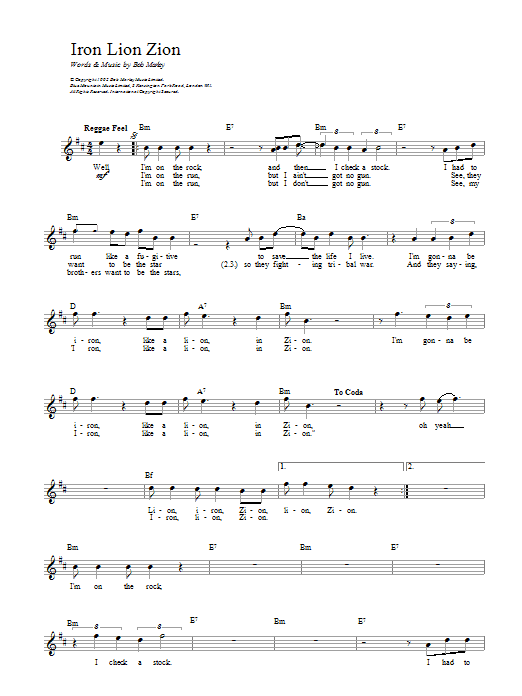 Bob Marley Iron Lion Zion sheet music preview music notes and score for Bass Guitar Tab including 4 page(s)