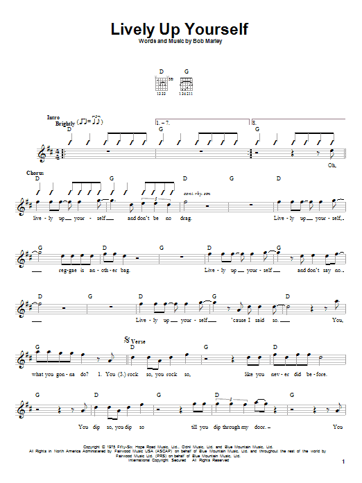 Bob Marley Lively Up Yourself sheet music notes and chords