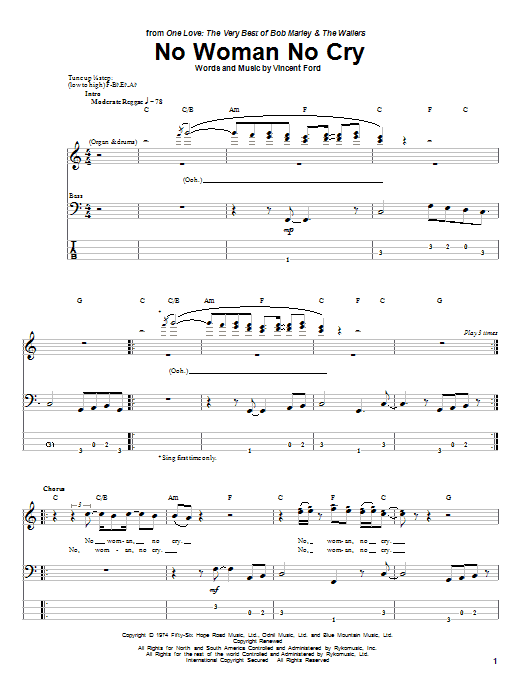 Download Bob Marley 'No Woman No Cry' Digital Sheet Music Notes & Chords and start playing in minutes