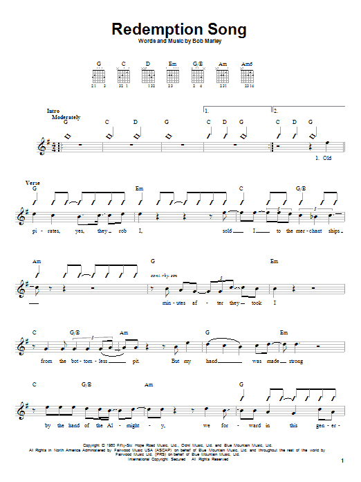 Download Bob Marley 'Redemption Song' Digital Sheet Music Notes & Chords and start playing in minutes