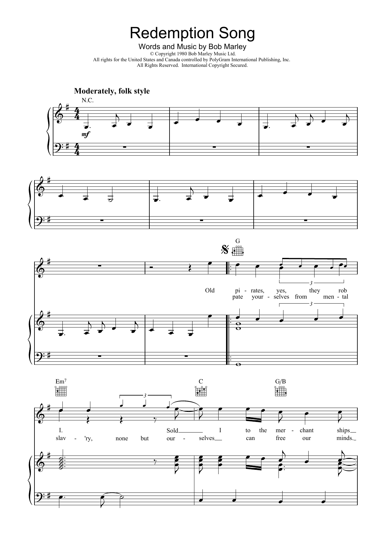 Bob Marley Redemption Song sheet music preview music notes and score for Easy Guitar Tab including 4 page(s)