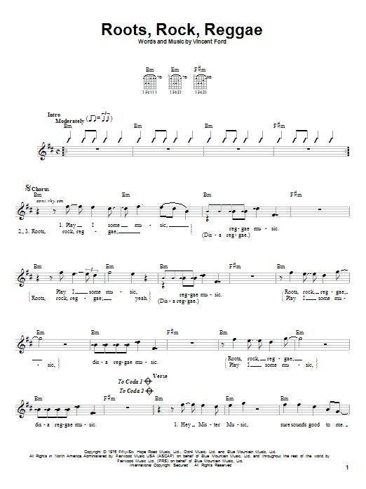 Bob Marley Roots, Rock, Reggae sheet music notes and chords