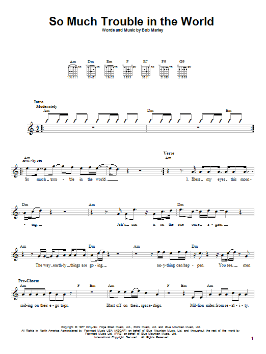 Bob Marley So Much Trouble In The World sheet music notes and chords