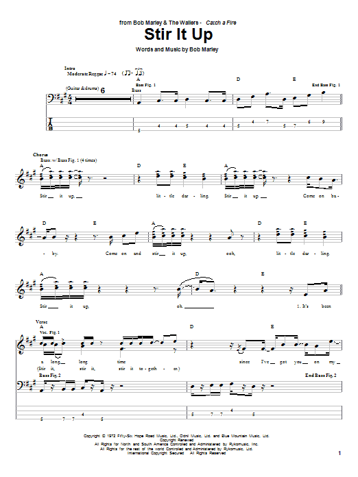 Bob Marley Stir It Up sheet music preview music notes and score for Drums Transcription including 1 page(s)