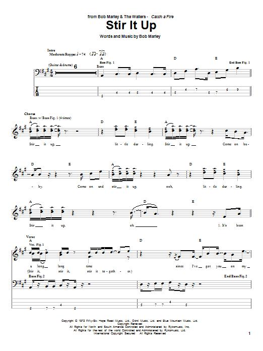 Bob Marley Stir It Up sheet music notes and chords