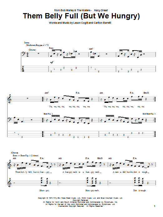 Bob Marley Them Belly Full (But We Hungry) sheet music notes and chords