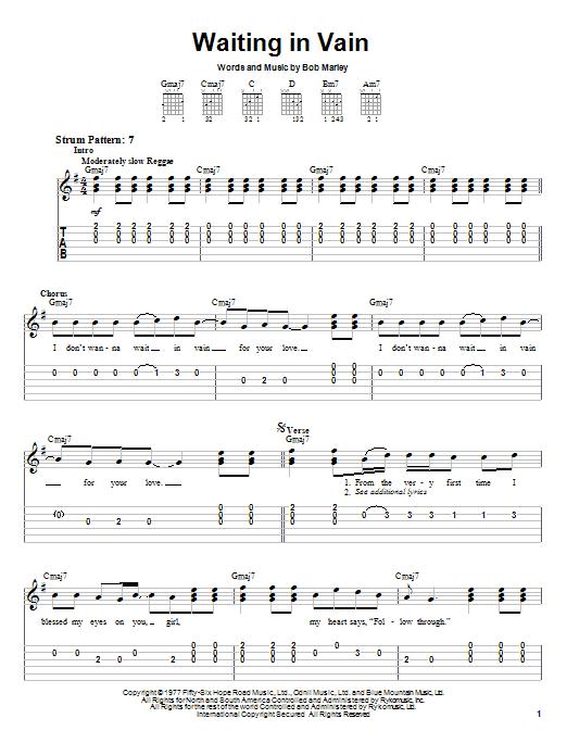 Bob Marley Waiting In Vain sheet music notes and chords