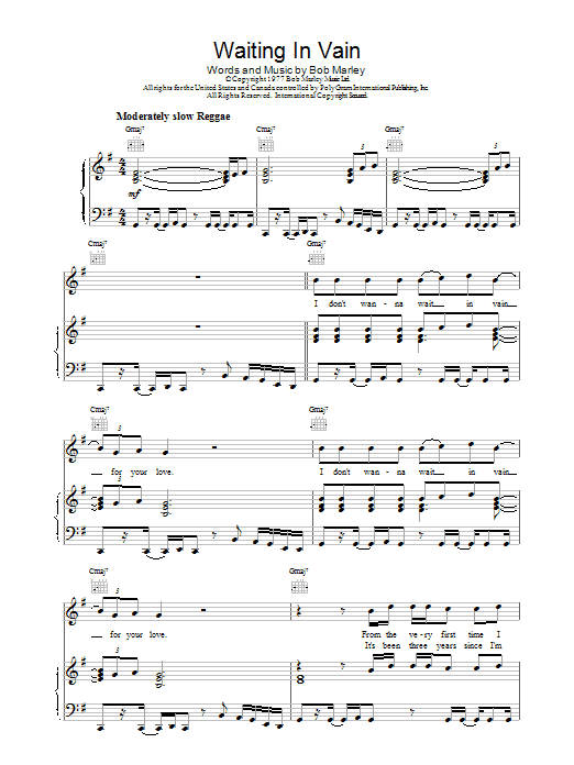 Bob Marley Waiting In Vain sheet music preview music notes and score for Piano, Vocal & Guitar (Right-Hand Melody) including 6 page(s)