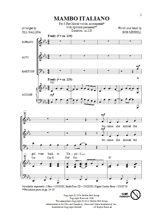 Download Jill Gallina 'Mambo Italiano' Digital Sheet Music Notes & Chords and start playing in minutes