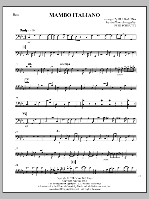 Bob Merrill Mambo Italiano (arr. Jill Gallina) - Bass sheet music notes and chords