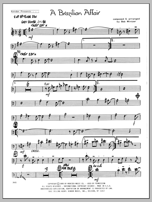 Bob Mintzer Brazilian Affair - 2nd Bb Tenor Saxophone sheet music preview music notes and score for Jazz Ensemble including 2 page(s)