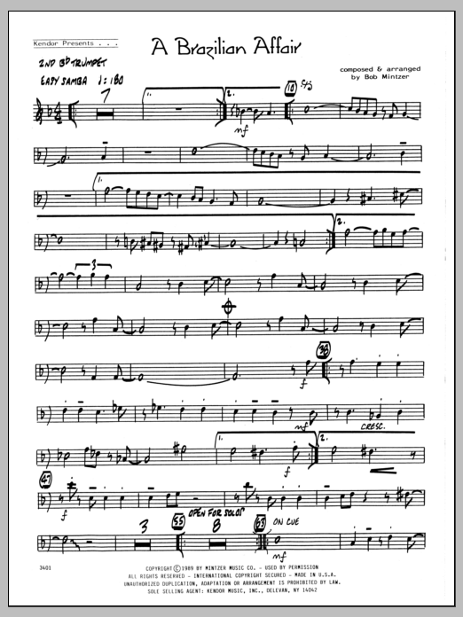 Bob Mintzer Brazilian Affair - 2nd Bb Trumpet sheet music preview music notes and score for Jazz Ensemble including 2 page(s)