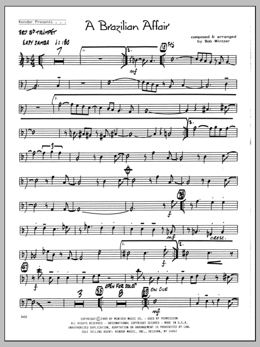 Bob Mintzer Brazilian Affair - 3rd Bb Trumpet sheet music preview music notes and score for Jazz Ensemble including 2 page(s)