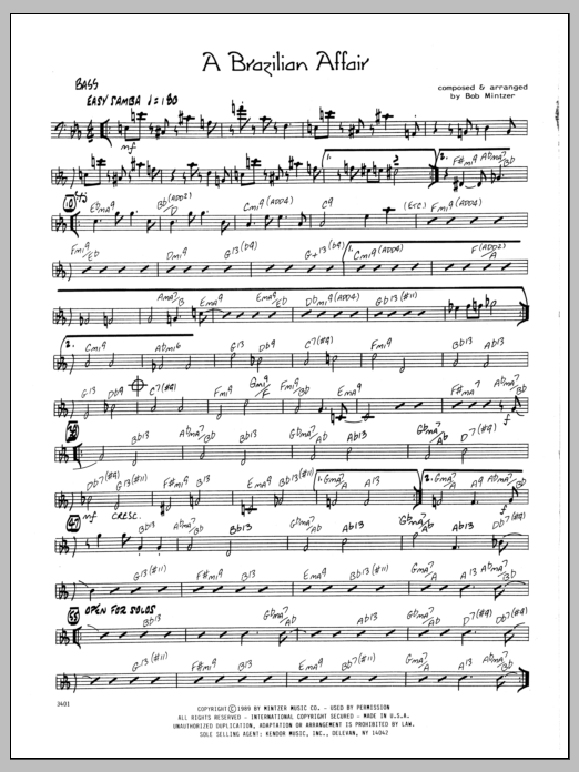 Bob Mintzer Brazilian Affair - Bass sheet music preview music notes and score for Jazz Ensemble including 2 page(s)