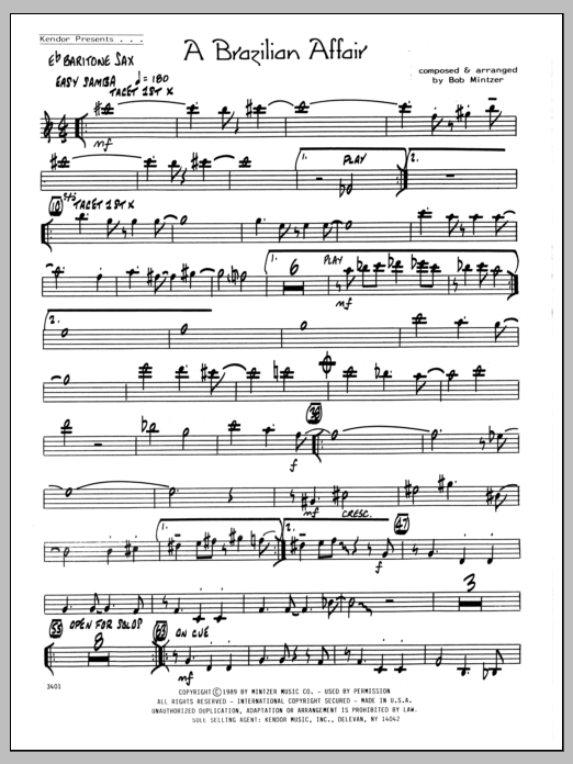 Bob Mintzer Brazilian Affair - Eb Baritone Sax sheet music preview music notes and score for Jazz Ensemble including 2 page(s)