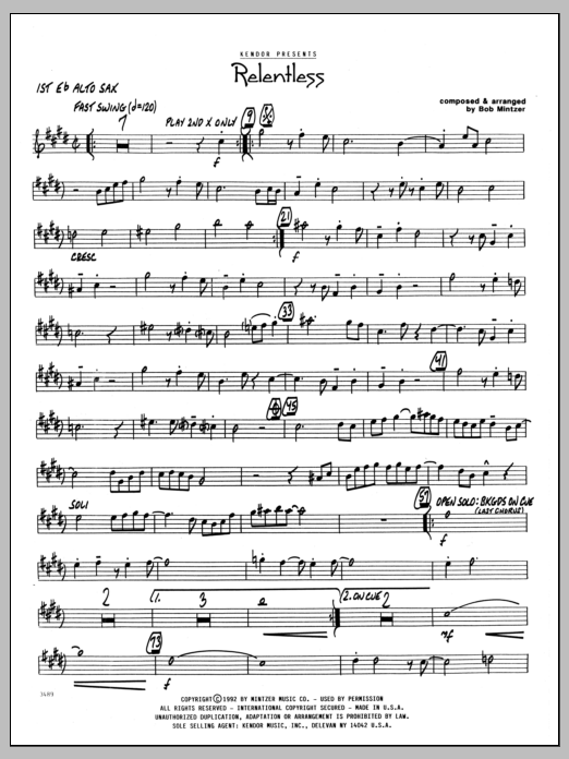 Bob Mintzer Relentless - 1st Eb Alto Saxophone sheet music preview music notes and score for Jazz Ensemble including 2 page(s)